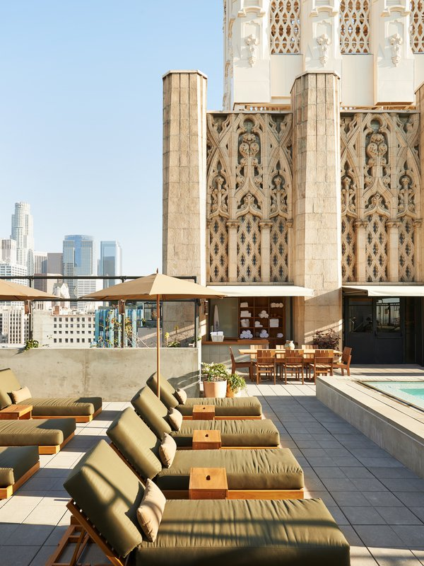 Upstairs At Ace Hotel Dtla Rooftop Bar With Pool And Sky High Views